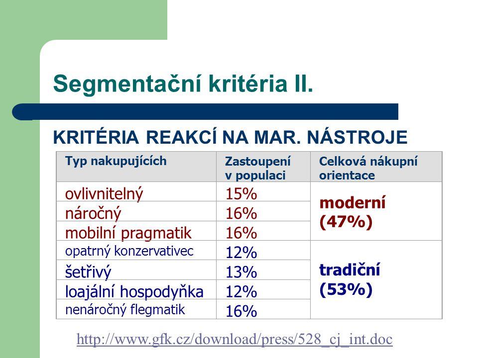 Segmentační kritéria II.