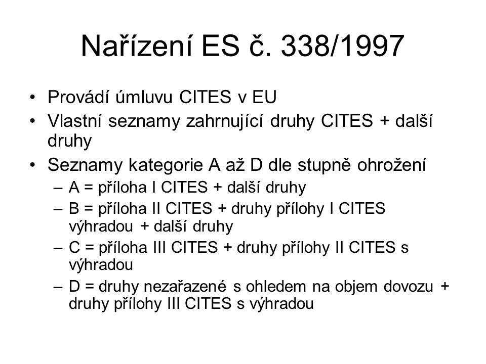 Nařízení ES č. 338/1997 Provádí úmluvu CITES v EU