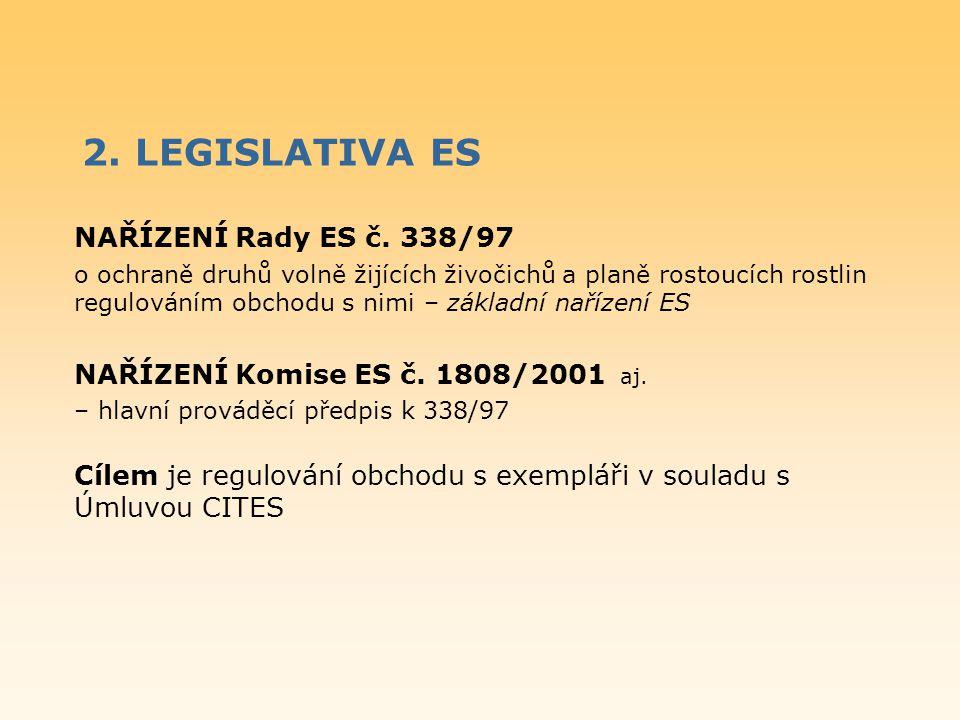 2. LEGISLATIVA ES NAŘÍZENÍ Rady ES č. 338/97