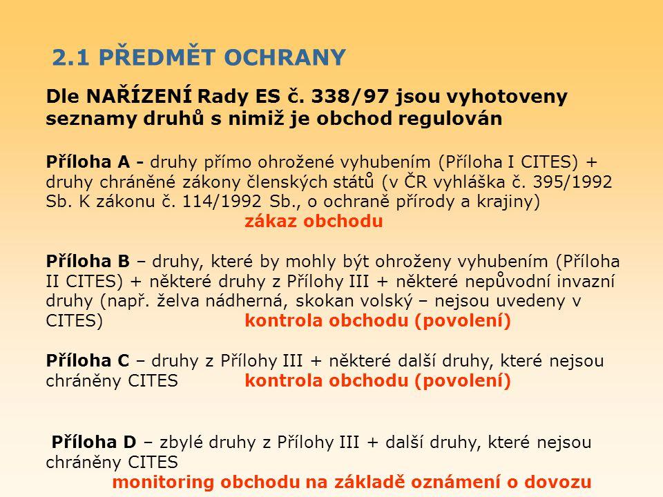 2.1 PŘEDMĚT OCHRANY Dle NAŘÍZENÍ Rady ES č. 338/97 jsou vyhotoveny seznamy druhů s nimiž je obchod regulován.