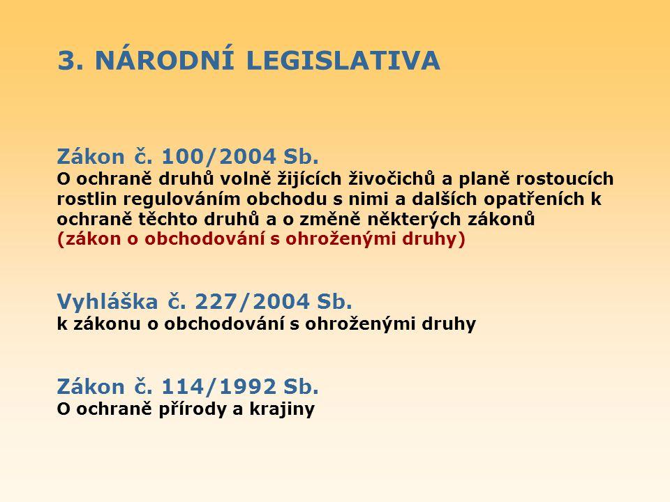 3. NÁRODNÍ LEGISLATIVA Zákon č. 100/2004 Sb. Vyhláška č. 227/2004 Sb.