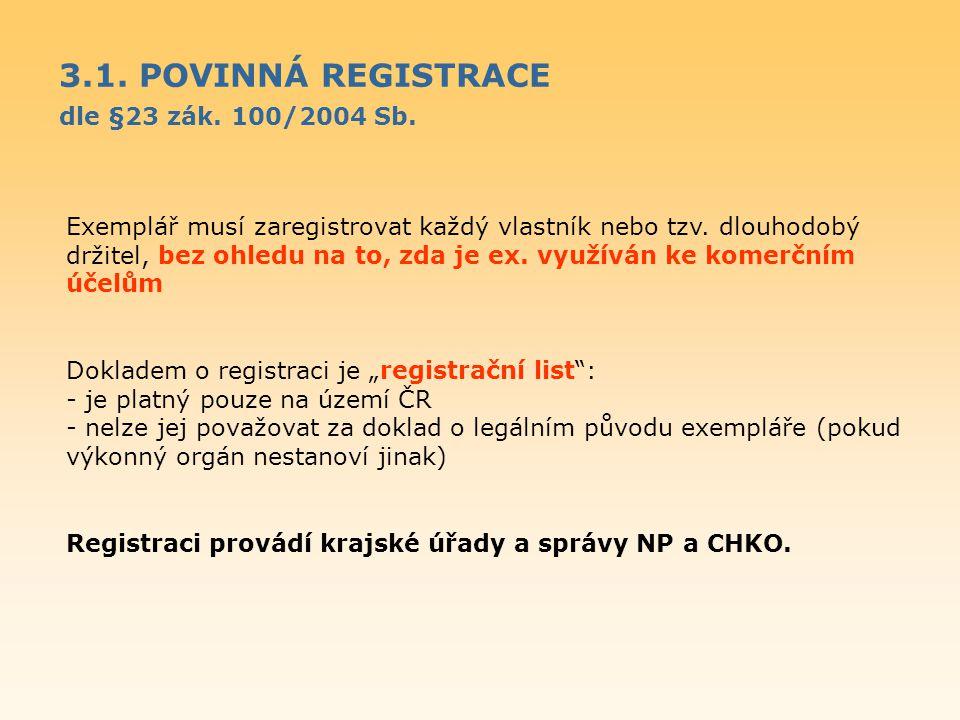 3.1. POVINNÁ REGISTRACE dle §23 zák. 100/2004 Sb.