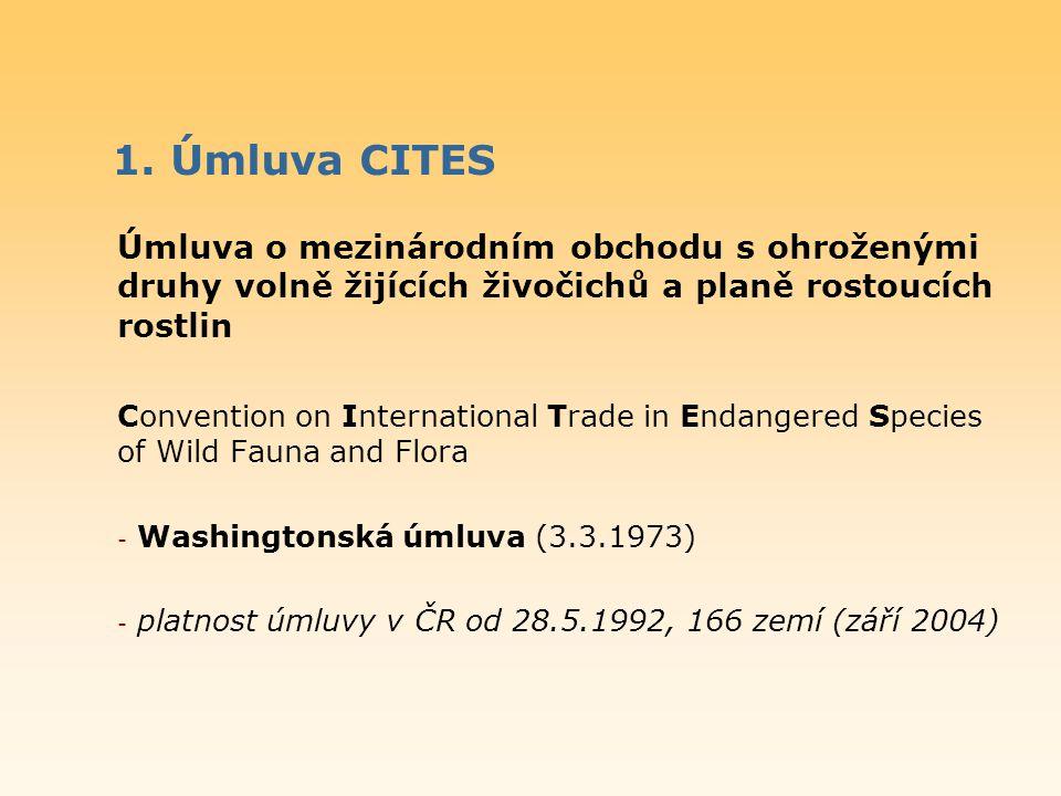1. Úmluva CITES Úmluva o mezinárodním obchodu s ohroženými druhy volně žijících živočichů a planě rostoucích rostlin.