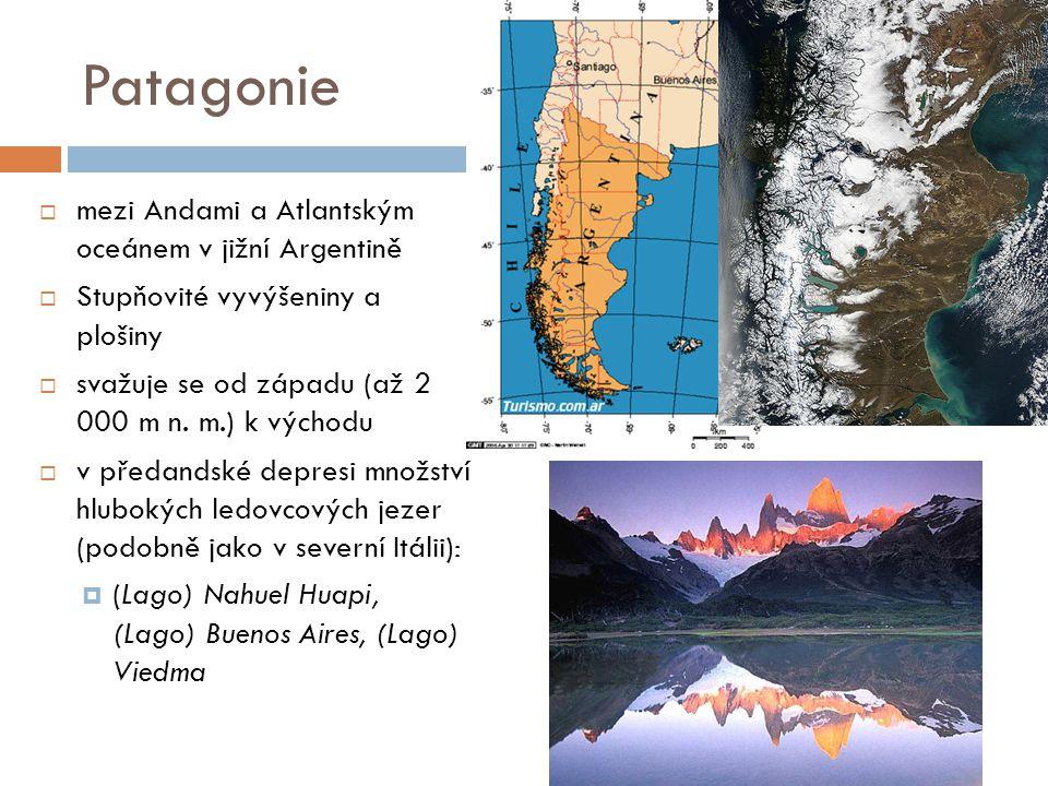 Patagonie mezi Andami a Atlantským oceánem v jižní Argentině