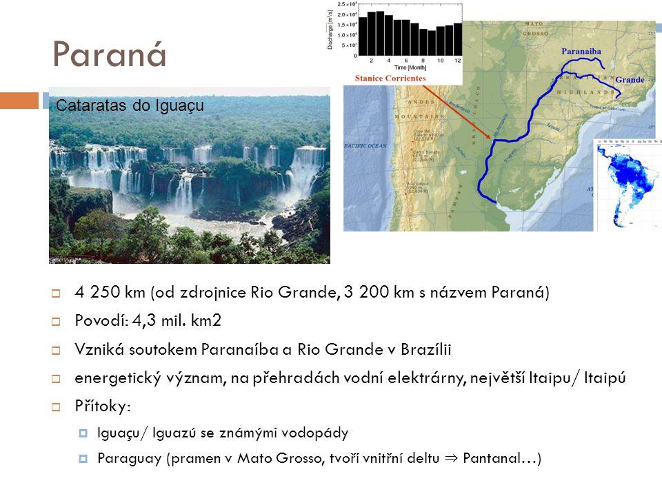 Paraná 4 250 km (od zdrojnice Rio Grande, 3 200 km s názvem Paraná)