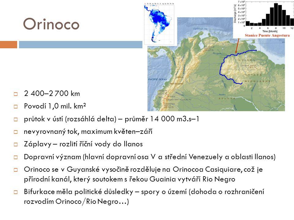Orinoco 2 400–2 700 km Povodí 1,0 mil. km²