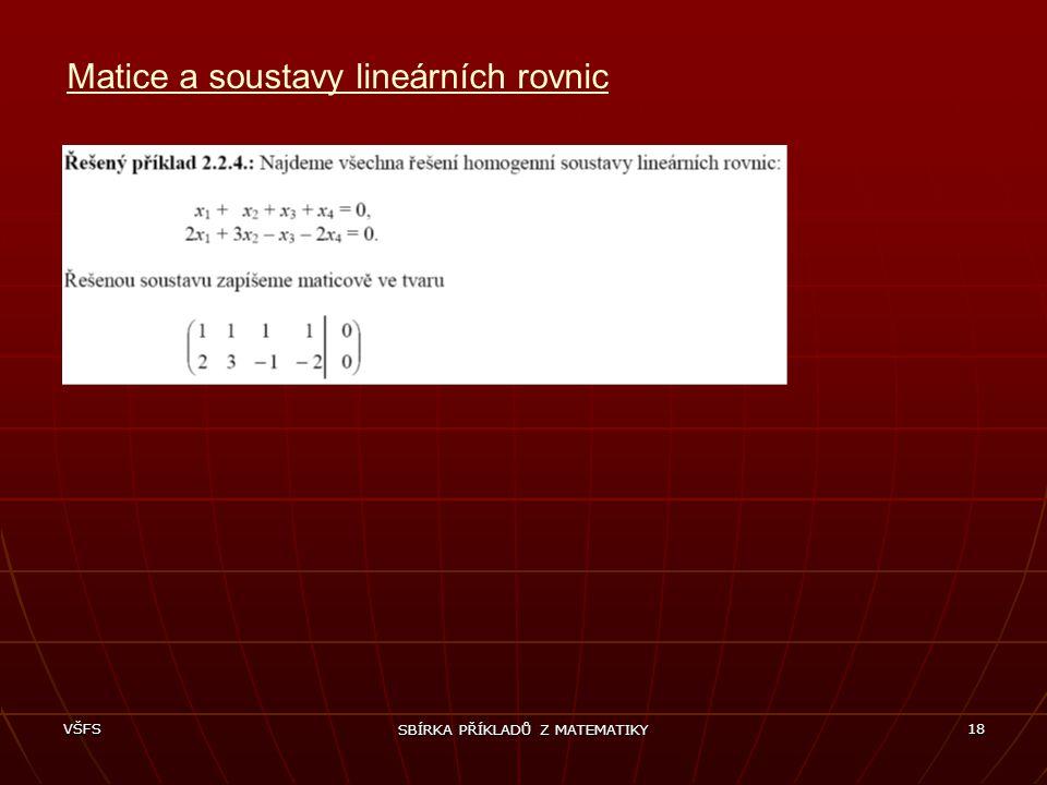 Matice a soustavy lineárních rovnic