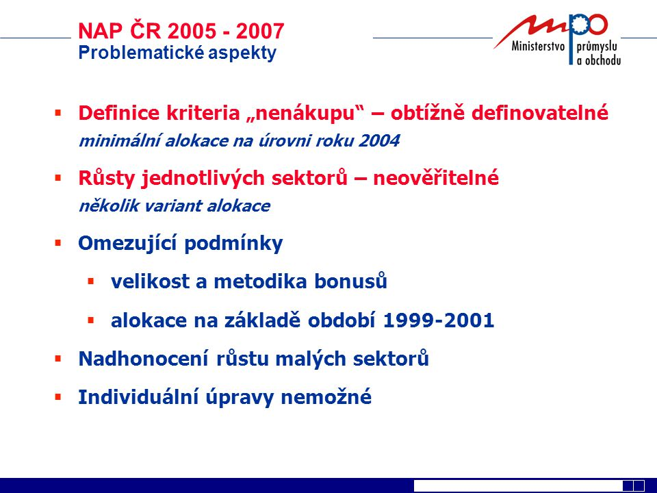 """NAP ČR 2005 - 2007 Problematické aspekty. Definice kriteria """"nenákupu – obtížně definovatelné. minimální alokace na úrovni roku 2004."""