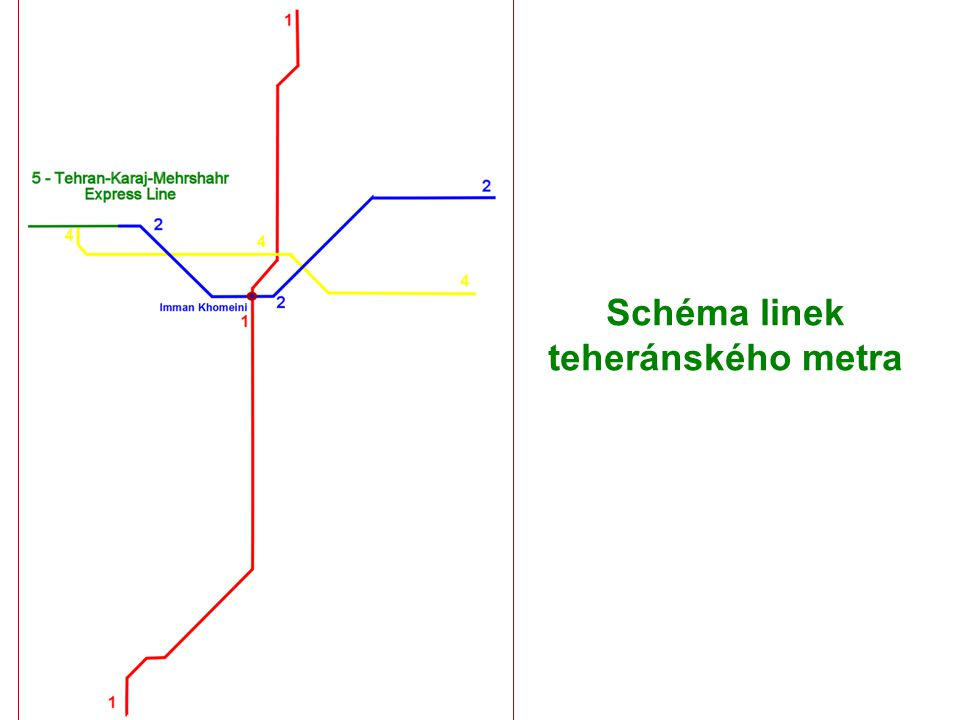 Schéma linek teheránského metra