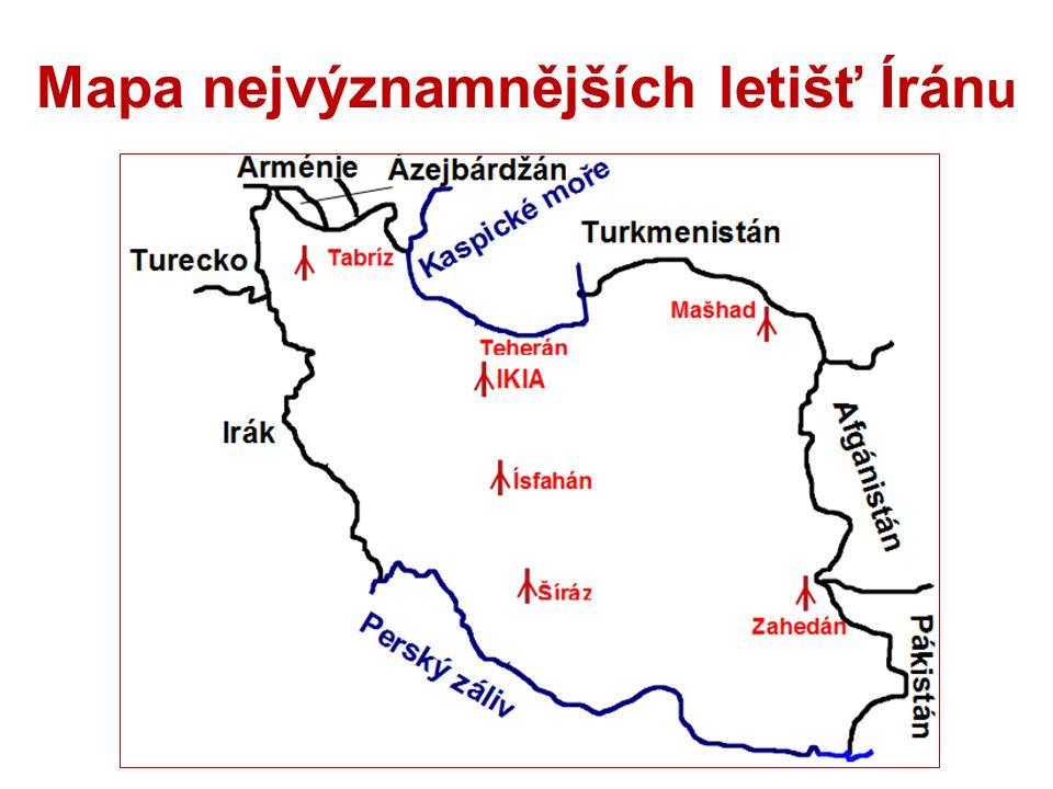 Mapa nejvýznamnějších letišť Íránu