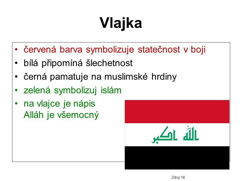 Vlajka červená barva symbolizuje statečnost v boji