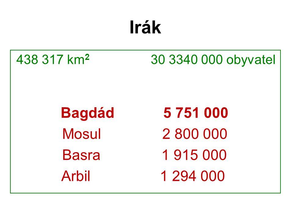 Irák 438 317 km2 30 3340 000 obyvatel. Bagdád 5 751 000. Mosul 2 800 000.