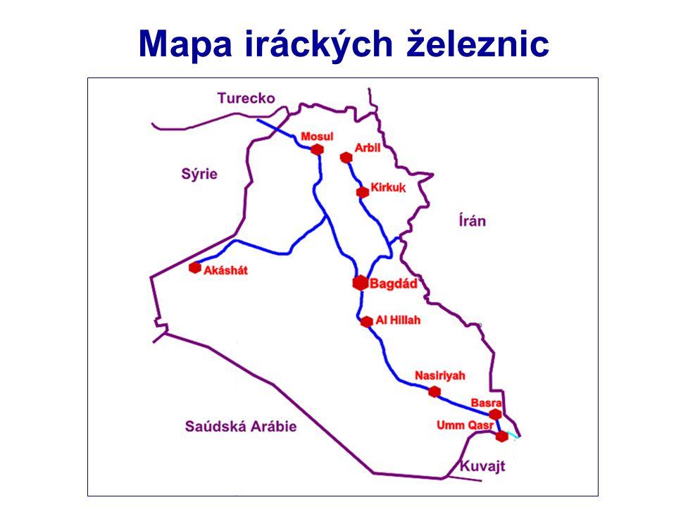 Mapa iráckých železnic