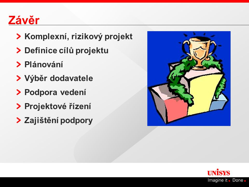 Závěr Komplexní, rizikový projekt Definice cílů projektu Plánování
