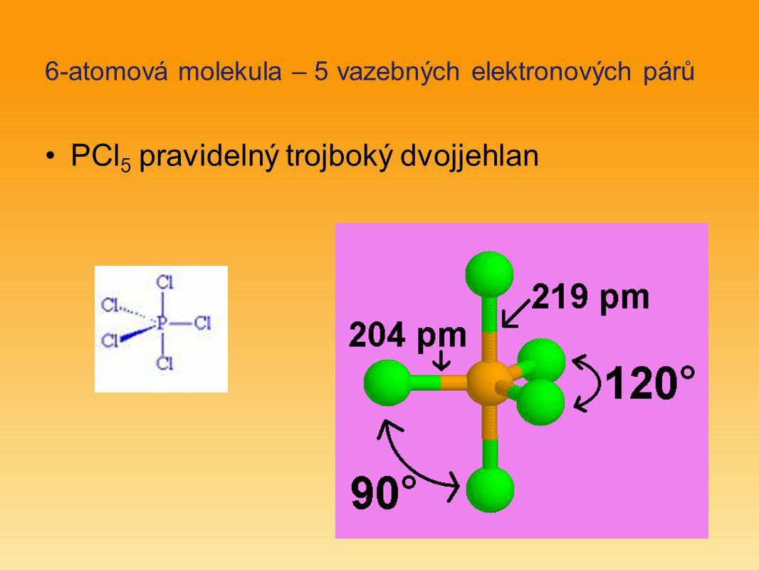 6-atomová molekula – 5 vazebných elektronových párů