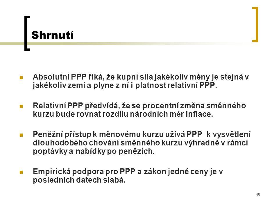 Shrnutí Absolutní PPP říká, že kupní síla jakékoliv měny je stejná v jakékoliv zemi a plyne z ní i platnost relativní PPP.