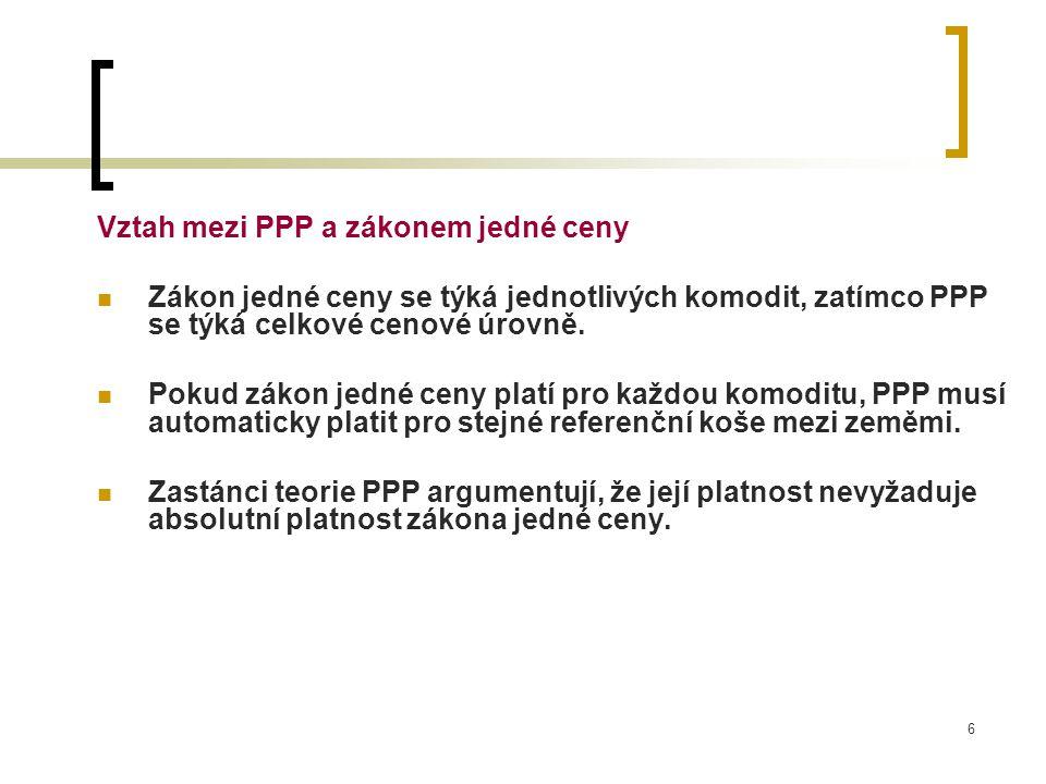 Vztah mezi PPP a zákonem jedné ceny