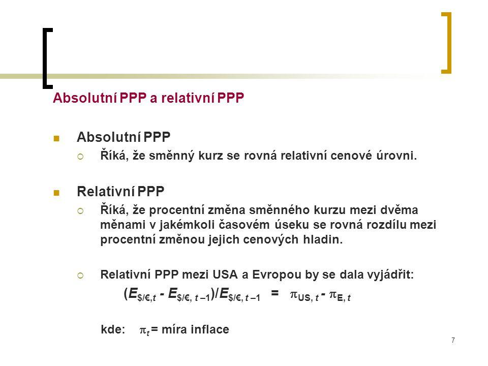 Absolutní PPP a relativní PPP Absolutní PPP