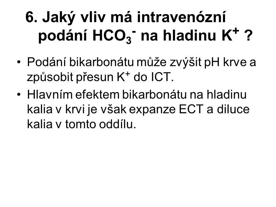 6. Jaký vliv má intravenózní podání HCO3- na hladinu K+