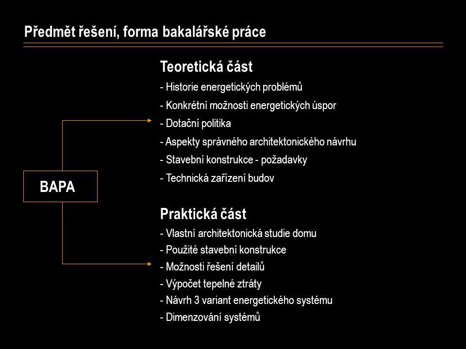 Předmět řešení, forma bakalářské práce