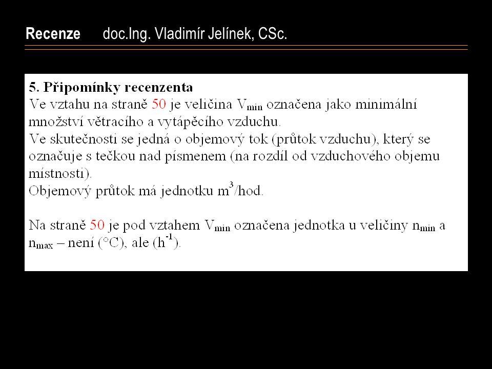 Recenze doc.Ing. Vladimír Jelínek, CSc.