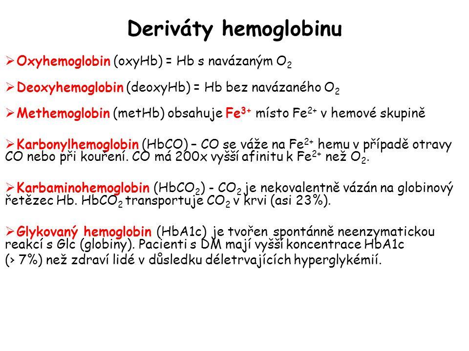 Deriváty hemoglobinu Oxyhemoglobin (oxyHb) = Hb s navázaným O2