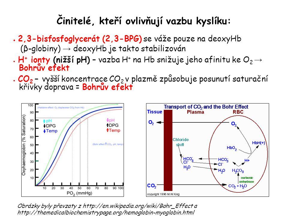 Činitelé, kteří ovlivňují vazbu kyslíku: