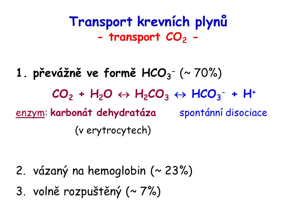Transport krevních plynů - transport CO2 -