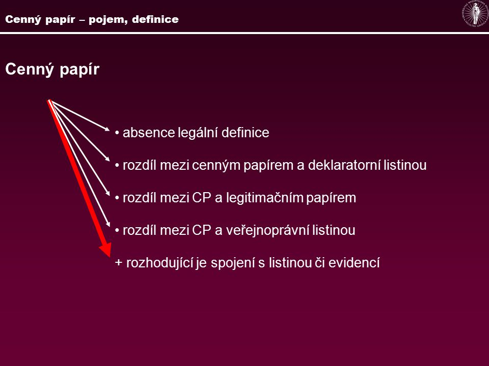Cenný papír absence legální definice