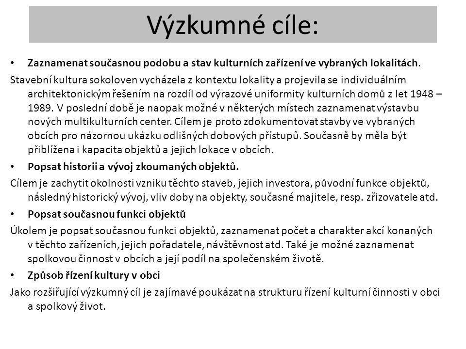 Výzkumné cíle: Zaznamenat současnou podobu a stav kulturních zařízení ve vybraných lokalitách.