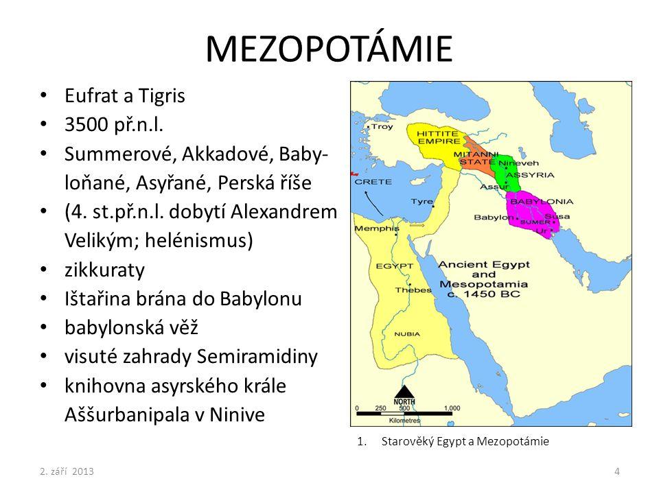 MEZOPOTÁMIE Eufrat a Tigris 3500 př.n.l. Summerové, Akkadové, Baby-