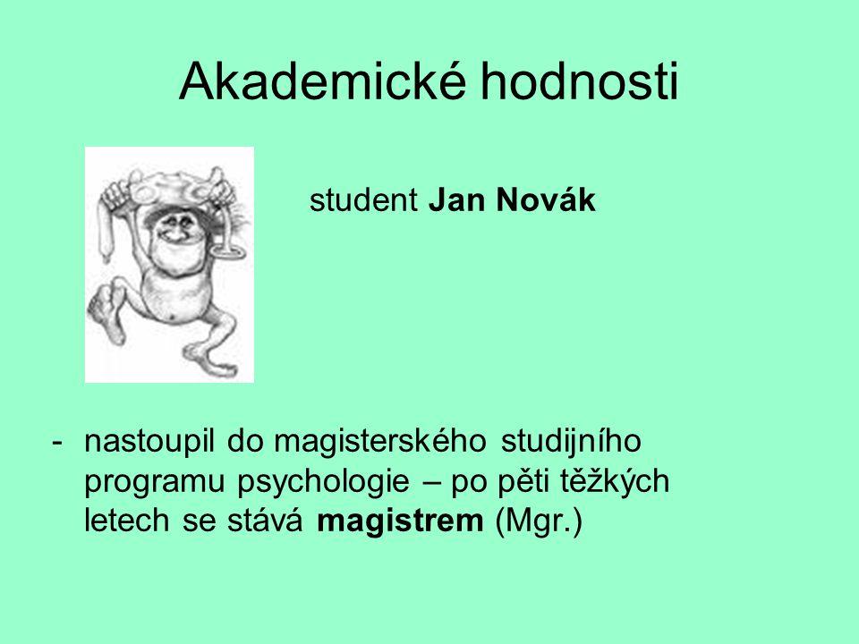 Akademické hodnosti student Jan Novák