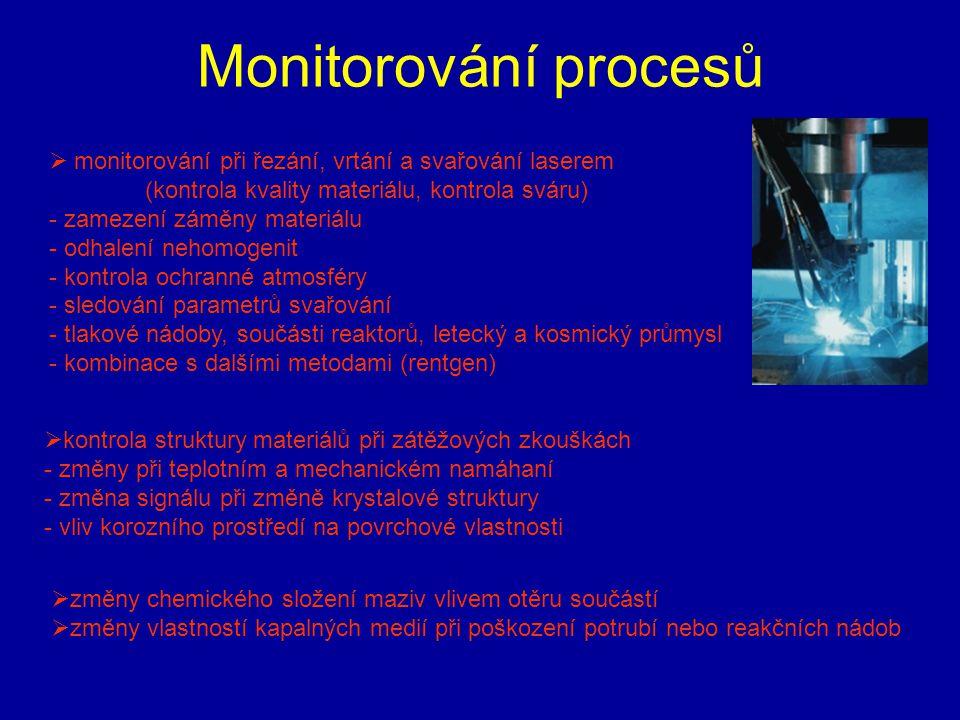 Monitorování procesů monitorování při řezání, vrtání a svařování laserem. (kontrola kvality materiálu, kontrola sváru)