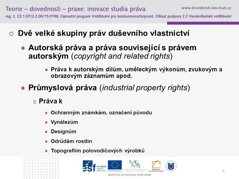 Dvě velké skupiny práv duševního vlastnictví
