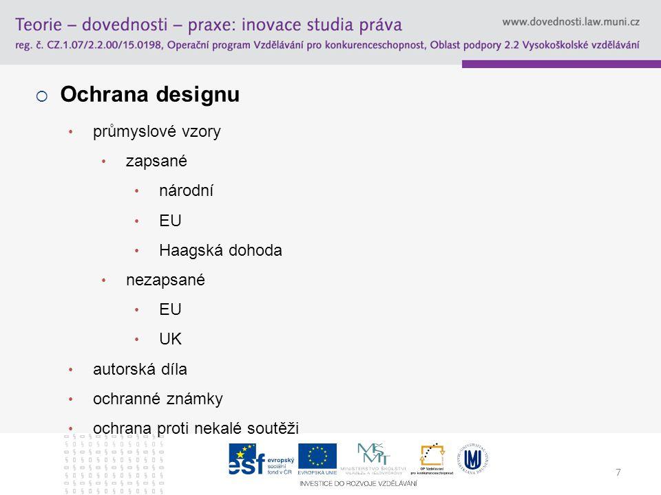 Ochrana designu průmyslové vzory zapsané národní EU Haagská dohoda