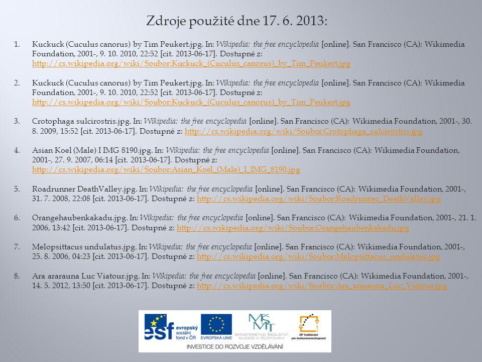 Zdroje použité dne 17. 6. 2013:
