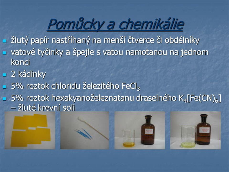 Pomůcky a chemikálie žlutý papír nastříhaný na menší čtverce či obdélníky. vatové tyčinky a špejle s vatou namotanou na jednom konci.