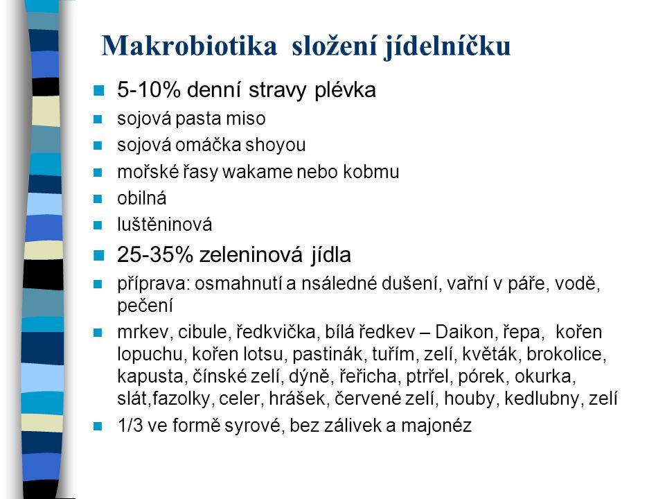 Makrobiotika složení jídelníčku