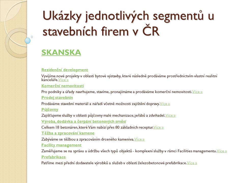 Ukázky jednotlivých segmentů u stavebních firem v ČR