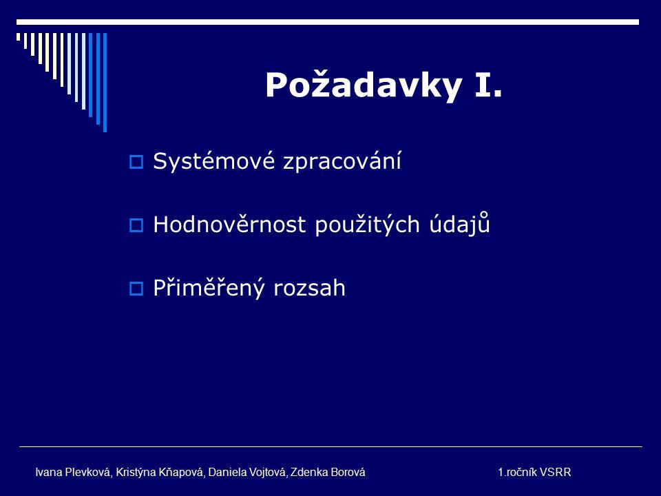 Požadavky I. Systémové zpracování Hodnověrnost použitých údajů