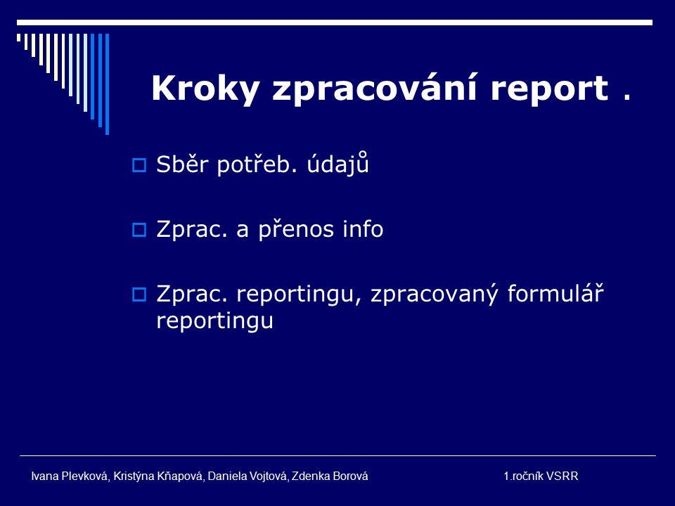 Kroky zpracování report .