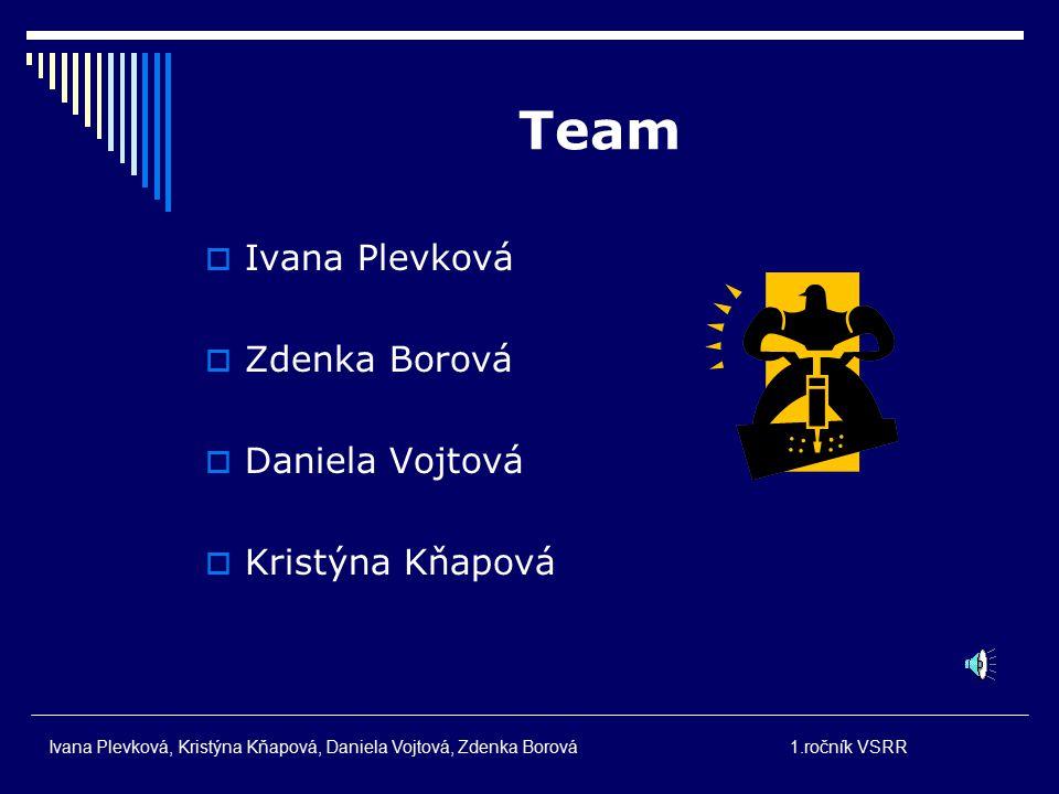 Team Ivana Plevková Zdenka Borová Daniela Vojtová Kristýna Kňapová