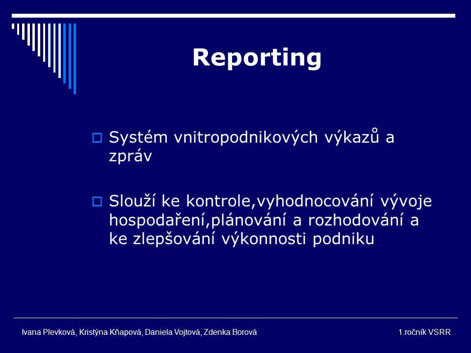 Reporting Systém vnitropodnikových výkazů a zpráv