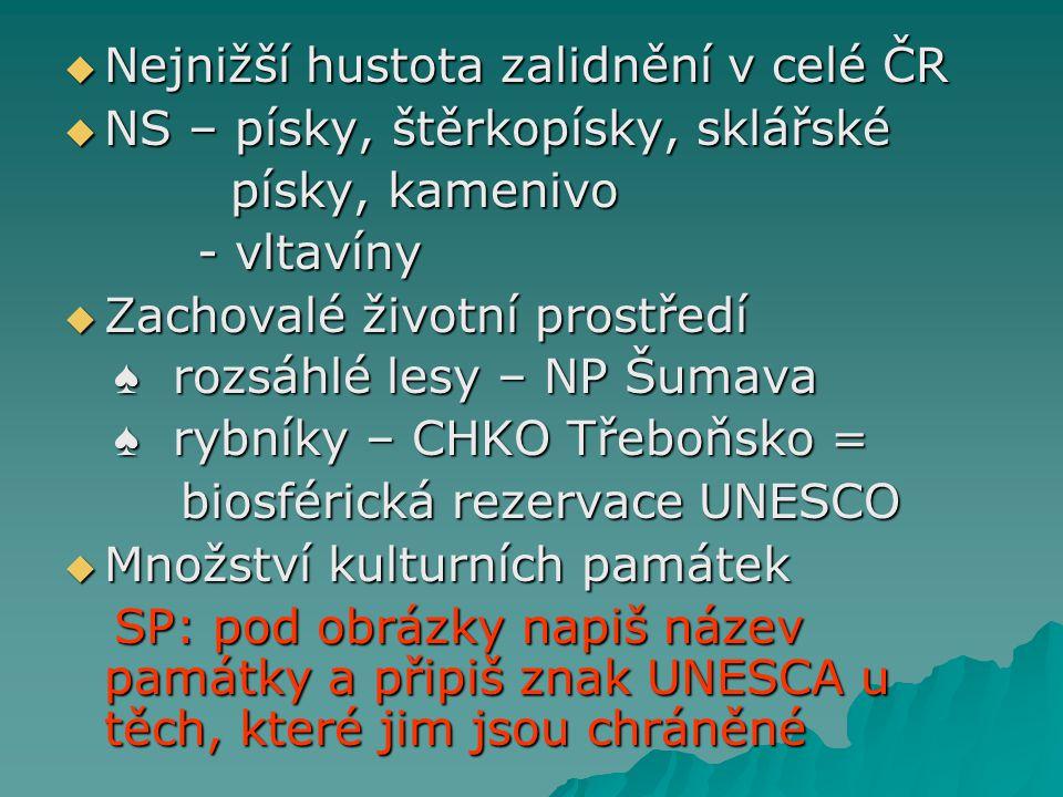 Nejnižší hustota zalidnění v celé ČR