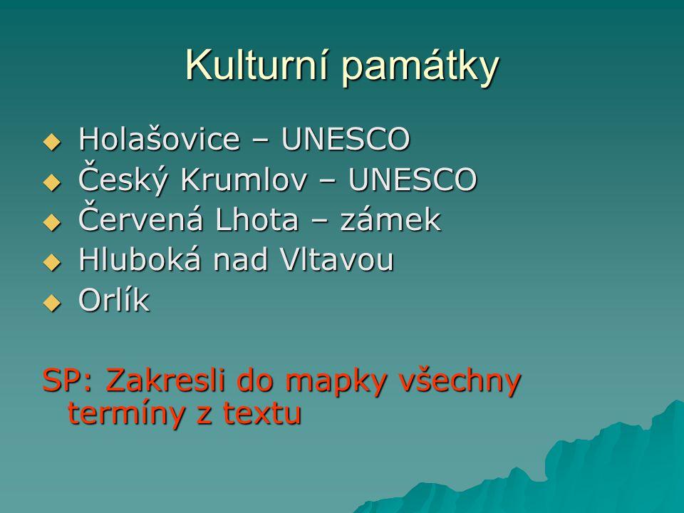 Kulturní památky Holašovice – UNESCO Český Krumlov – UNESCO