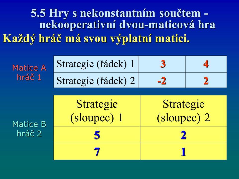 5.5 Hry s nekonstantním součtem - nekooperativní dvou-maticová hra .