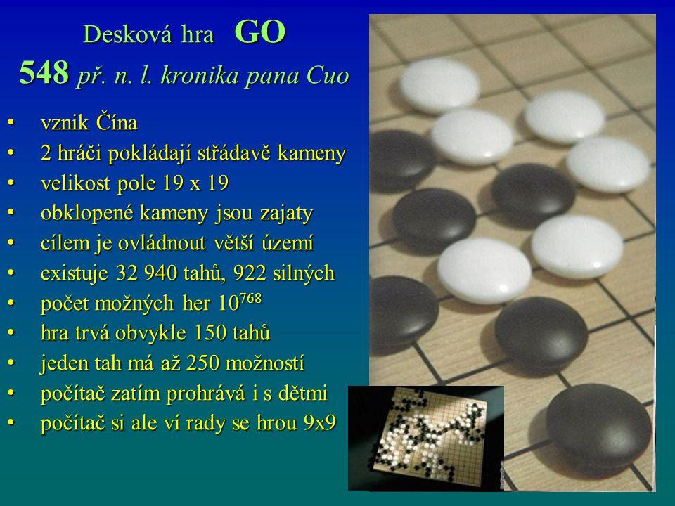 548 př. n. l. kronika pana Cuo Desková hra GO vznik Čína