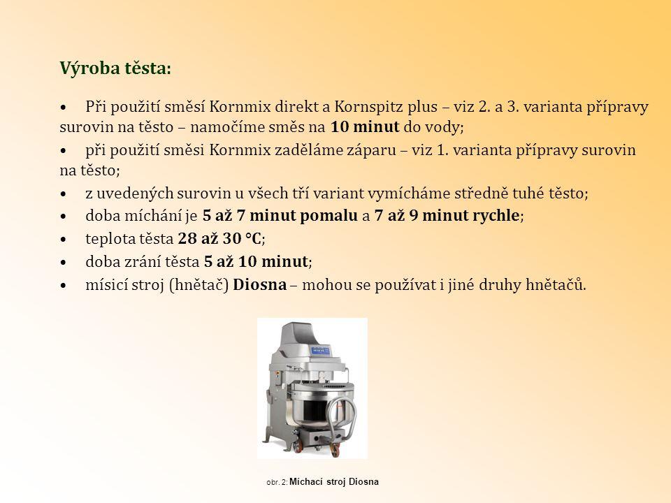 Výroba těsta: Při použití směsí Kornmix direkt a Kornspitz plus – viz 2. a 3. varianta přípravy.