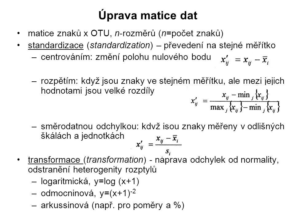 Úprava matice dat matice znaků x OTU, n-rozměrů (n=počet znaků)