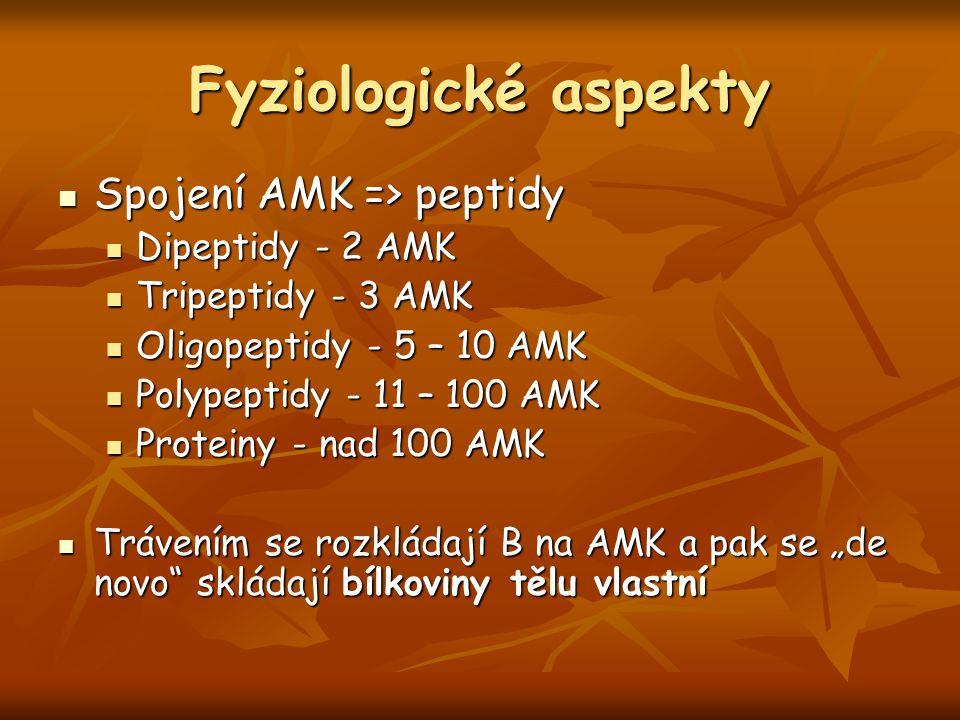 Fyziologické aspekty Spojení AMK => peptidy Dipeptidy - 2 AMK